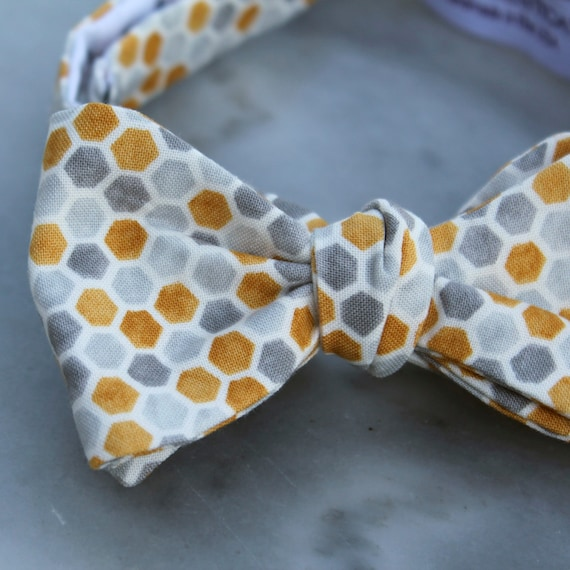Bow Tie for Men in Yellow and Gray Honeycomb - Clip on, adustable strap, or self tying - wedding neckties - ring bearer outfit