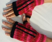Multi colour pink fingerless gloves with black stripes - wristwarmers - mittens - mits