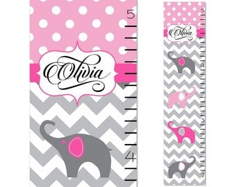 Elephant Chevron Growth Chart Children Canvas Growth Chart Pink Grey Personalized