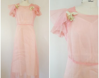 Vintage 1930s Dress / Organza Dress / Airy Pink / Flutter Sleeve / Lawn Party Dress