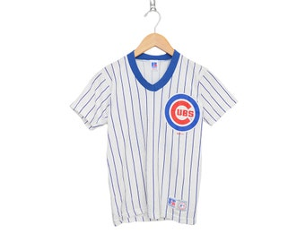 Vintage Chicago Cubs Sammy Sosa #21 White & Blue Pin Stripe Small Jersey Shirt MLB Authentic Merchandise Russell Athletic, Made in USA