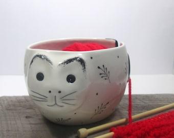 Cat Yarn bowl Knitting bowl Green eyes  Ready to ship