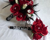 Reserved Wedding bouquet set red and creme white roses black feathers gems bridal bouquets and boutonnieres