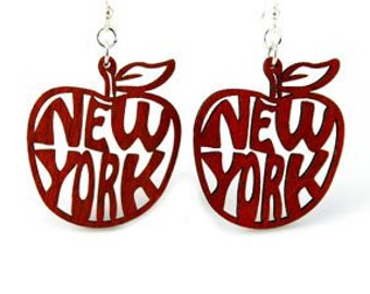 New York The Big Apple - Wood Earrings