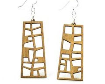 Pearl Harbor Window Earrings - Wood