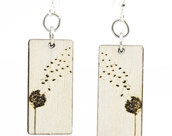 Dandy Lion Blossoms - Wood Earrings