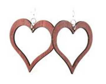 Open Heart - Laser Cut Earrings from Reforested Trees