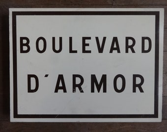 Vintage French Boulevard D'Armor Armor Armour Roadsign Road Sign circa 1980's / English Shop