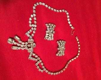 Vintage Blue Rhinestone Necklace Matching Earrings