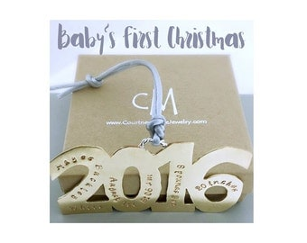 Babys First Christmas Ornament - New Baby Ornament - Personalized Christmas Ornament Handmade - Baby Stats - Christmas Gift