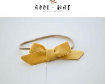 Mustard Yellow Dainty Bow Headband