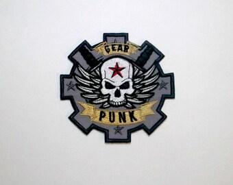 Gear punk iron on patch