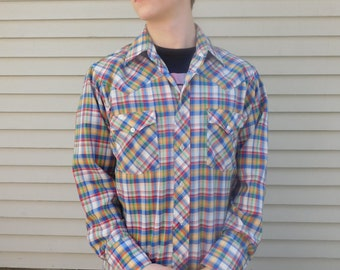 Vintage Cotton Plaid Western Button Down Shirt By Kingscourt