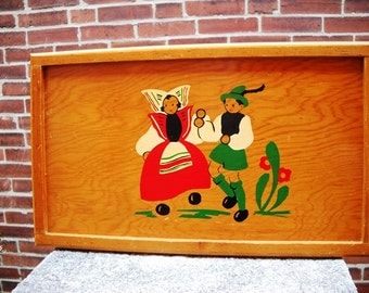 Wood dutch Tole Painting Tray Mid-Century