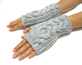 Short Gray   Fingerless Gloves, Hand Knit Gloves, Winter Gloves