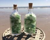 Genuine Sea Glass in a Set of Two Vintage Medicine Bottles