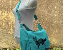 Holiday On Sale 10% off Turquoise canvas messenger bag, diaper bag, shoulder bag for women, girls school bag, market bag, shopping bag with