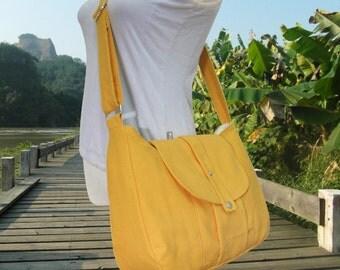 Golden canvas messenger bag / shoulder bag / everyday bag / diaper bag / cross body bag 6 pockets