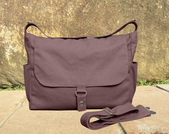 Brown canvas messenger bag, school bag, travel bag, womens purse, shoulder bags for women