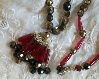 Vintage beaded necklace, cranberry red bead necklace, crystal necklace, tassel necklace, Denbe necklace, signed necklace