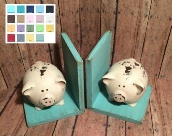 Pig Figurines Set of Bookends//Pig Book Ends//Available in a Variety of Colors//Farmhouse Decor//Shabby Chic//Housewarming//Birthday Gift