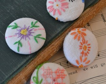 Vintage Handmade Floral Fabric Magnets Set of 4 - #3