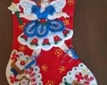 """Finished Felt Christmas Stocking """"Fairy Sweet"""" 16 inch"""