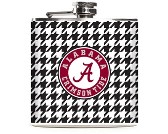 Alabama Crimson Tide Football Flask, Black and White Houndstooth, 6oz Stainless Steel Liquor Hip Flask