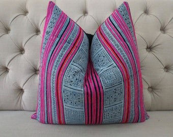 "Hmong Handmade Fabric Cushion Cover Boho Batik Neon Stripe Vintage Ethnic Tribal 20"" x 20"" Pillow"