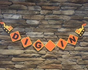 Dig In Banner, Construction Theme Banner, Dig In Buffet Banner, Construction theme birthday party, Excavator, Bulldozer