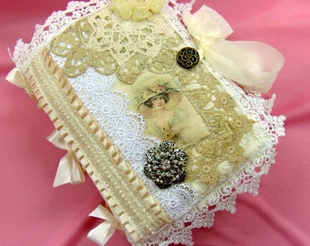 Lace Book Fiber Art Journal Handcrafted and Embellished for Artists, Writers, or other Creatives