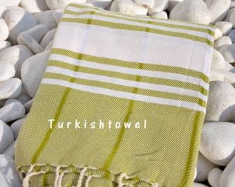 Turkishtowel-Soft-Hand woven,warp&weft cotton Bath,Beach,Travel Towel-Point twill pattern,Cream stripes on Olive Green