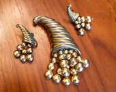 1940's Cornucopia Brass Brooch & Screwback Earrings Set