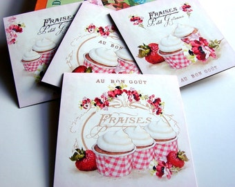 Bakery Greeting Card Set - French Patisserie Strawberry Cupcakes Baking Bake Food Frosted Strawberries Shabby - 4 Lg Square Note Cards