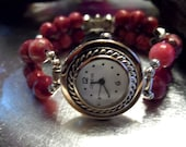 Beaded Watch Band Pink Fancy Jasper Stretch