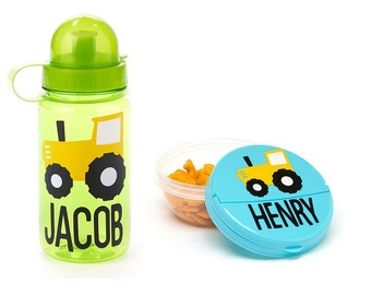 SALE! Kids Personalized Gift Set- Water Bottle and Snack Holder Set- Great Party Favor, Personalized Water Bottle, Kids Lunch