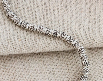 "35 of Karen Hill Tribe Silver Imprinted Spacer Beads 3.5x3 mm. 4.5 ""/strand  :ka4243"