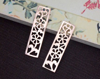2 of 925 Sterling Silver Rose Gold Vermeil Style Cut out Flower in  Rectangle Charms 7x26 mm :pg0138