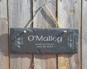 Engraved Slate Sign Wedding Gift - Garden Stones, Garden Sign, Patio Decor, Engraved Stone, Anniversary Gift, Housewarming Gift