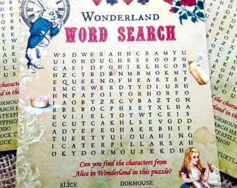 4 x Alice In Wonderland Themed Party Wordsearch Puzzles