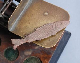 Antique brass clip, part, Fish