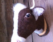 ON SALE needle felted cow mount style fake taxidermy by feltfactory-READY To Ship