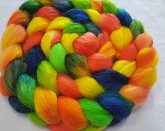 Polwarth/Yearling Mohair/Silk Roving - 65/25/10 - 4 oz - Hand Painted - Yellow, Red Orange, Royal Blue and Lime Green