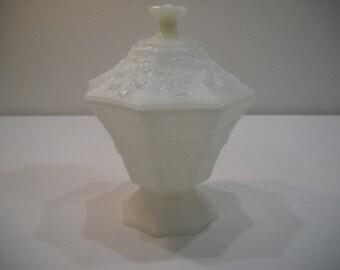 Anchor Hocking Vintage Milk Glass Pedestal Candy Dish with Lid Grape Design