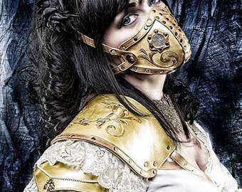 """Hand carved leather respirator """"Steampunk"""" mask"""