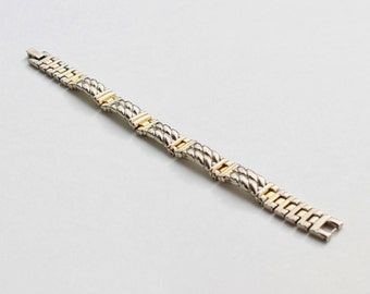 Vintage Mixed Metal Silvertone Goldtone Silver Gold Tone Double Row Rope Twist Link Traditional Preppy Nautical Bracelet