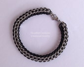 Men's Stainless Steel Bracelet, Chainmail Full Persian Weave, with Black Accent