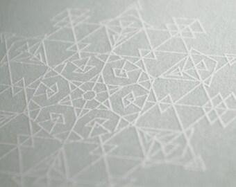 Glacial Blue Snowflake Letterpress Card – Diamonds
