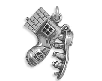 SALE Sterling Silver There Was an Old Woman Who Lived in a Shoe Charm Pendant 3D Marked 30% off Regular Price