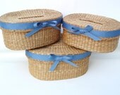 Vintage Nesting Baskets, Stacking Baskets, Oval Storage Containers, Small Woven Baskets, Blue Ribbons Set of 3